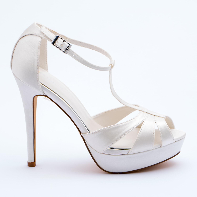 Sandalo sposa in raso bianco seta - Particolare fee9c9683f2