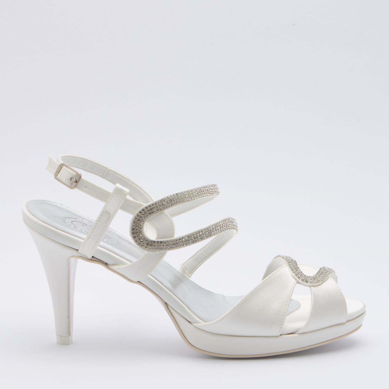 Scarpe Sposa Tacco 5 Cm.Patrizia Cavalleri Scarpe Sandalo Sposa Con Strass Tacco 8 5 E