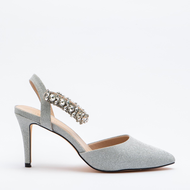 Scarpe Da Sposa Color Argento.Scarpa Modello Chanel Gioiello Alla Caviglia Colore Argento